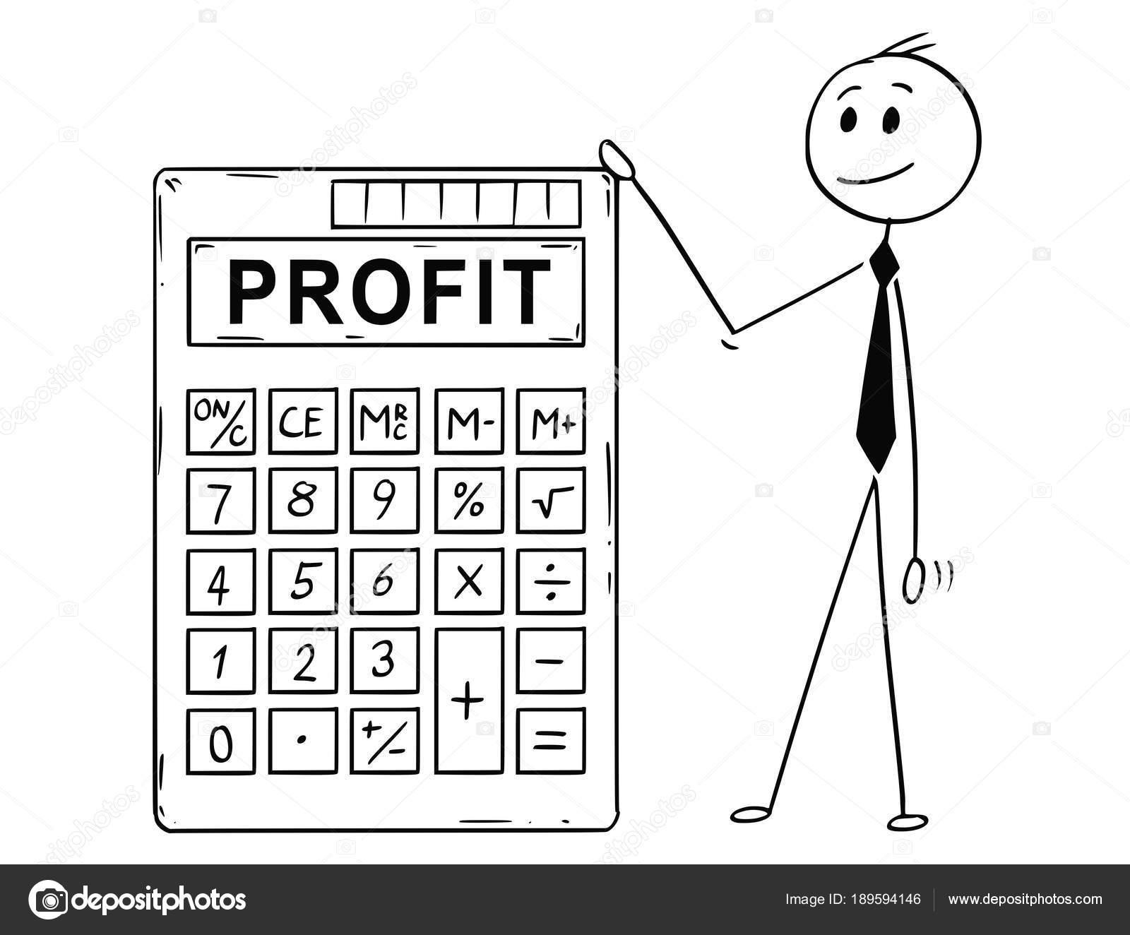 Caricatura de hombre de negocios de pie con gran calculadora ...