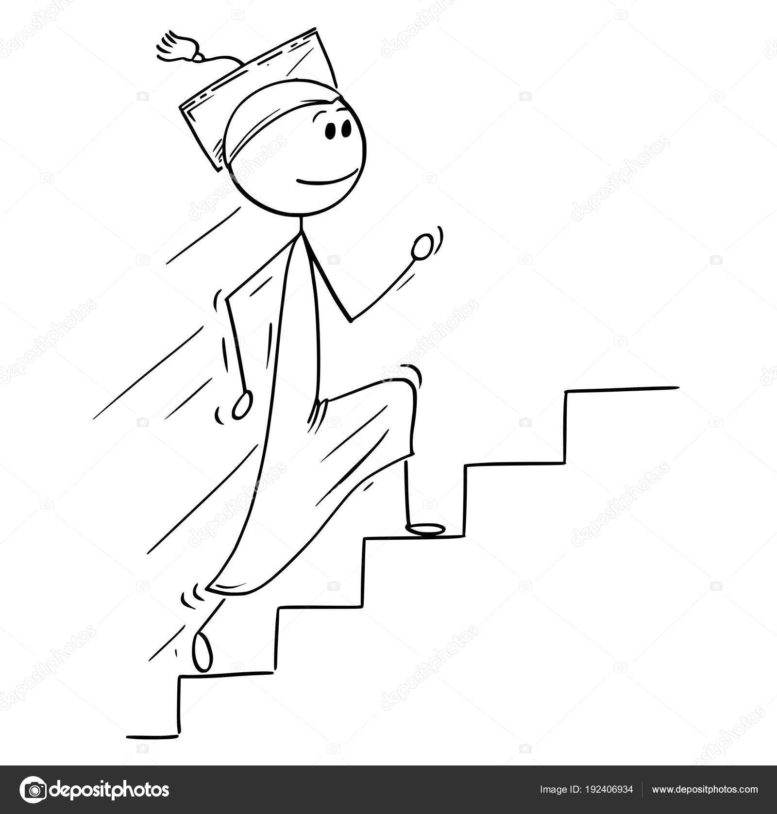Caricatura De Hombre Graduado Corriendo Escaleras O Escalera