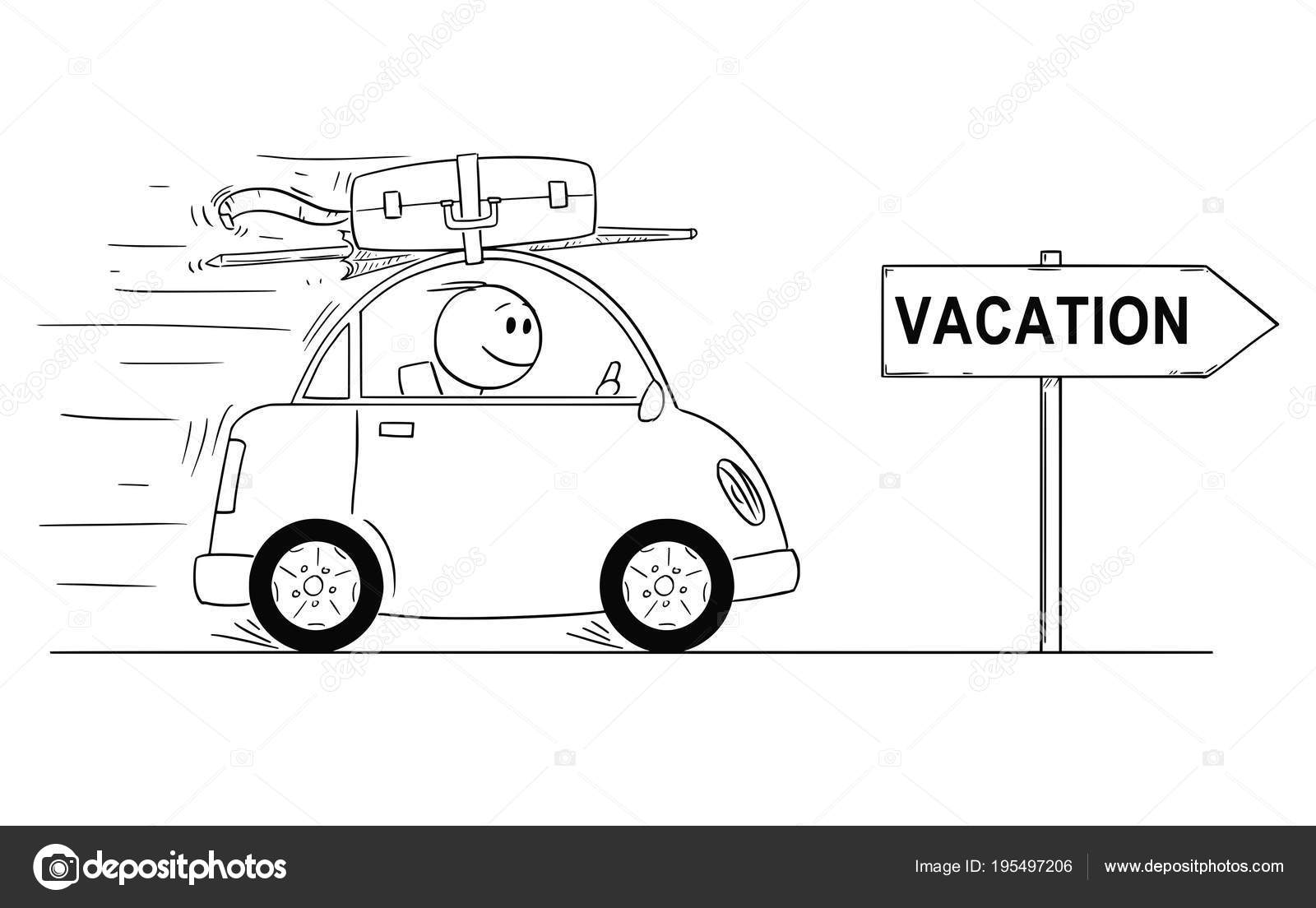 Cartoon Stick Man Drawing Conceptual Illustration Of Smiling In Small Car Going On Holiday Arrow Sign With Vacation Text