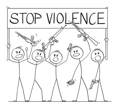 Vector Cartoon Illustration of Group of Soldiers or Armed People with Guns Demonstrating or Brandish with Pistols and Rifles Holding Stop Violence Sign