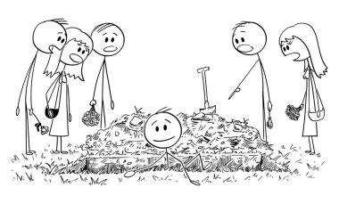 Vector Cartoon Illustration of Shocked People, Friends or Family Members on Burial Ceremony. Buried Alive Man is Coming Out of the Grave