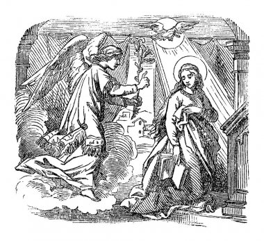 Vintage Drawing of Biblical Story of Angel Gabriel Speaking to Virgin Mary about Immaculate Conception and Birth of Jesus.Bible, New Testament, Luke 1