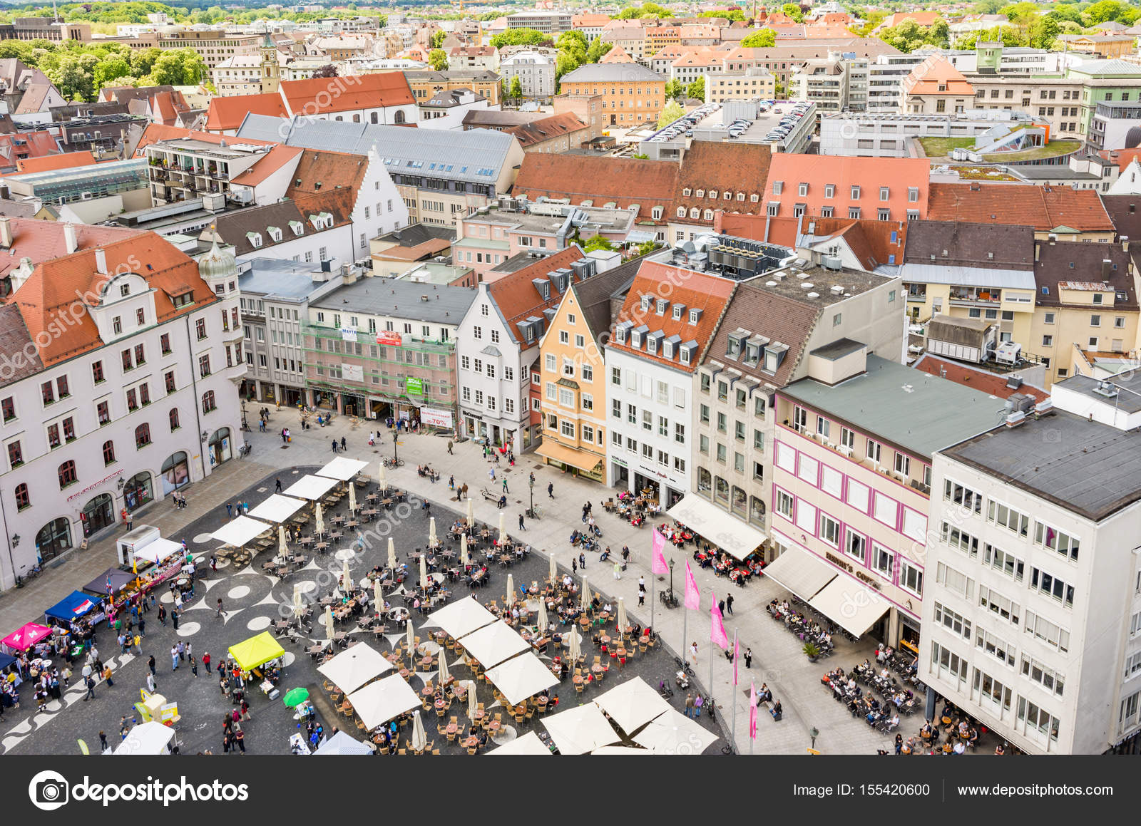 Aerial View Of People In A Street Cafe Stock Photo