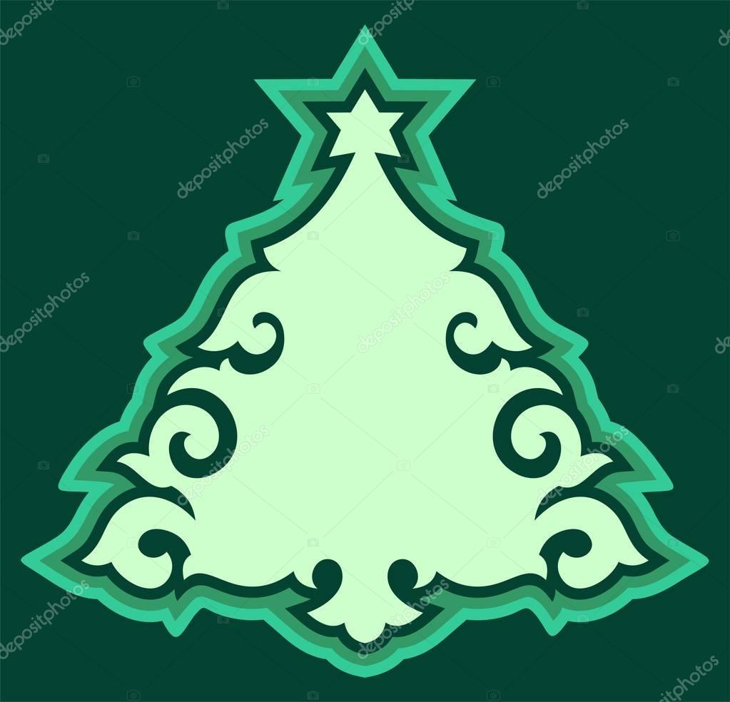 New Year tree, simple illustration