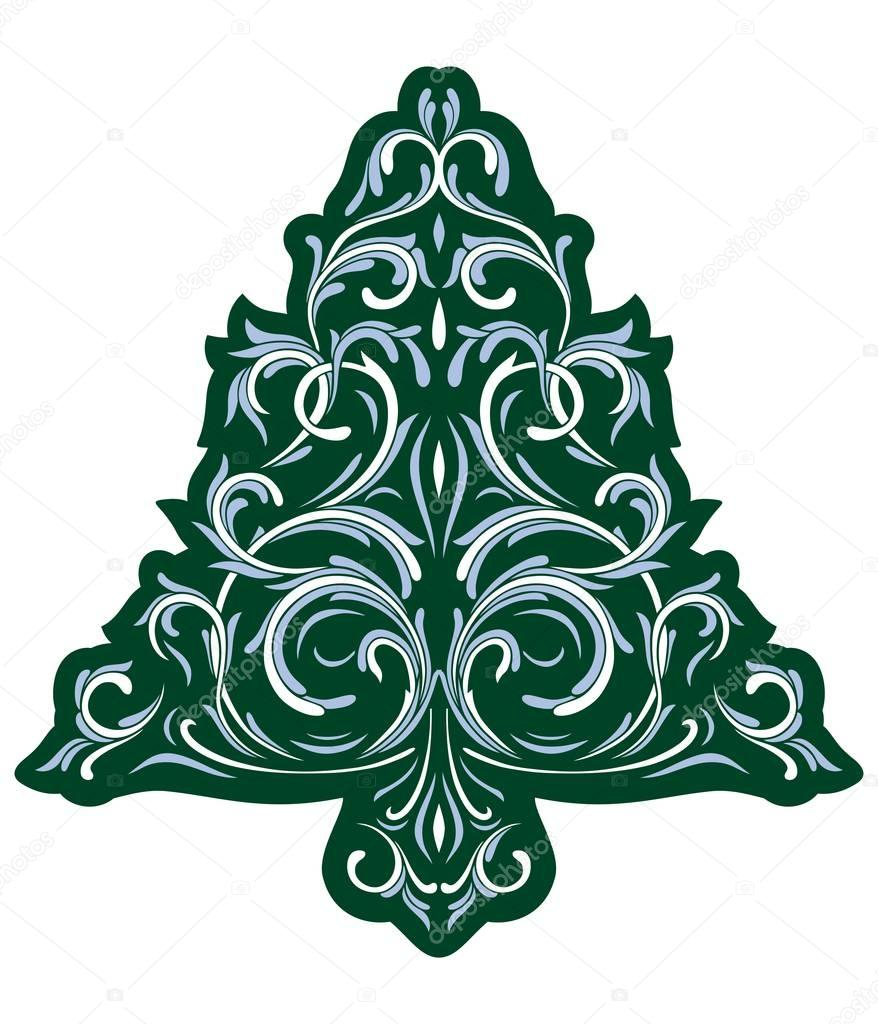 Christmas tree with ice ornament