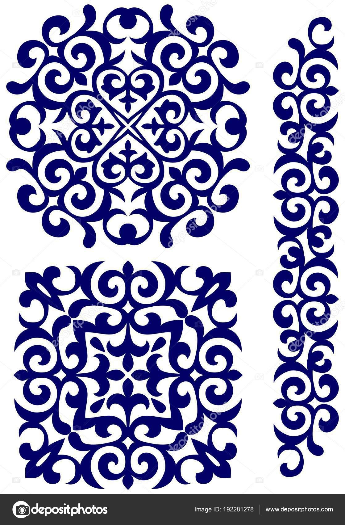 Kasachische Ornamente Kreis Quadrat Und Rahmen — Stockvektor ...