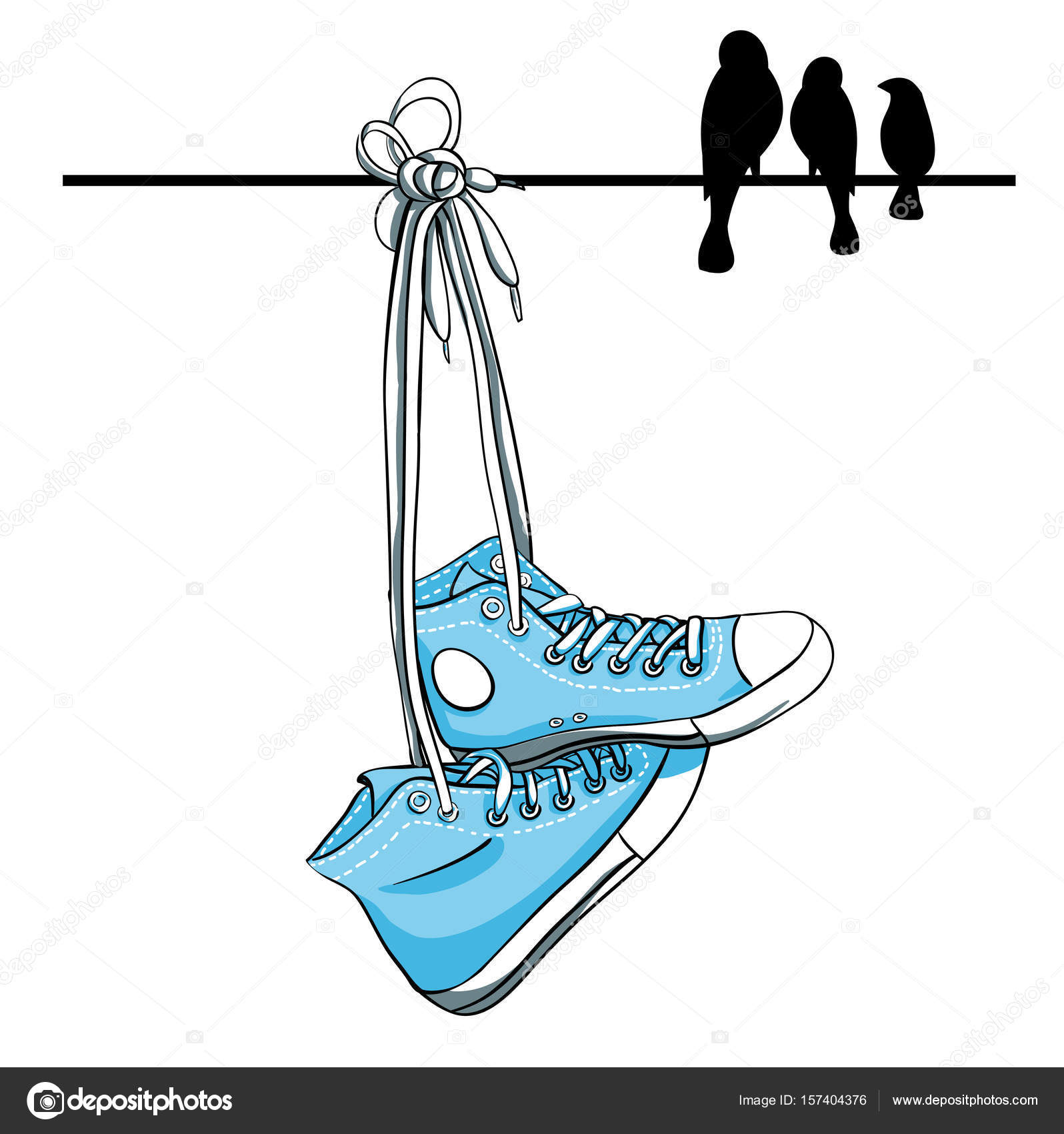 sneakers with silhouettes of birds — Stock Vector © nixes #157404376