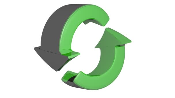 Two green arrows rotate in a circle following each the other - 3D rendering