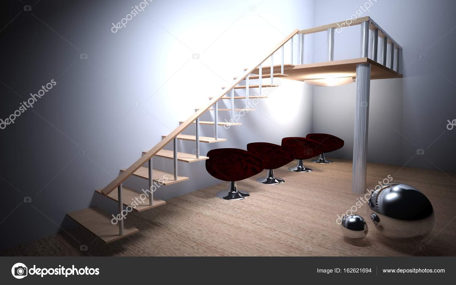 Eine Moderne Aussehende Zimmer Verfügt über Eine Hölzerne Treppe Geht Auf Kleinem  Raum; Unter Davon Gibt Es Vier Moderne Sessel Und Zwei Chrom Metallische ...