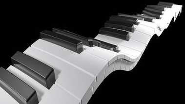 Keyboard of a piano waving on black background - 3D rendering