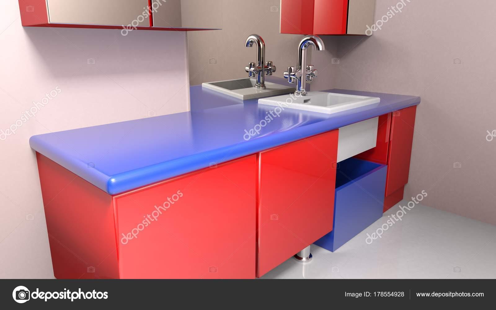 Bagni Colorati Blu : Bagno moderno con mobili colorati blu rosso rendering u foto stock