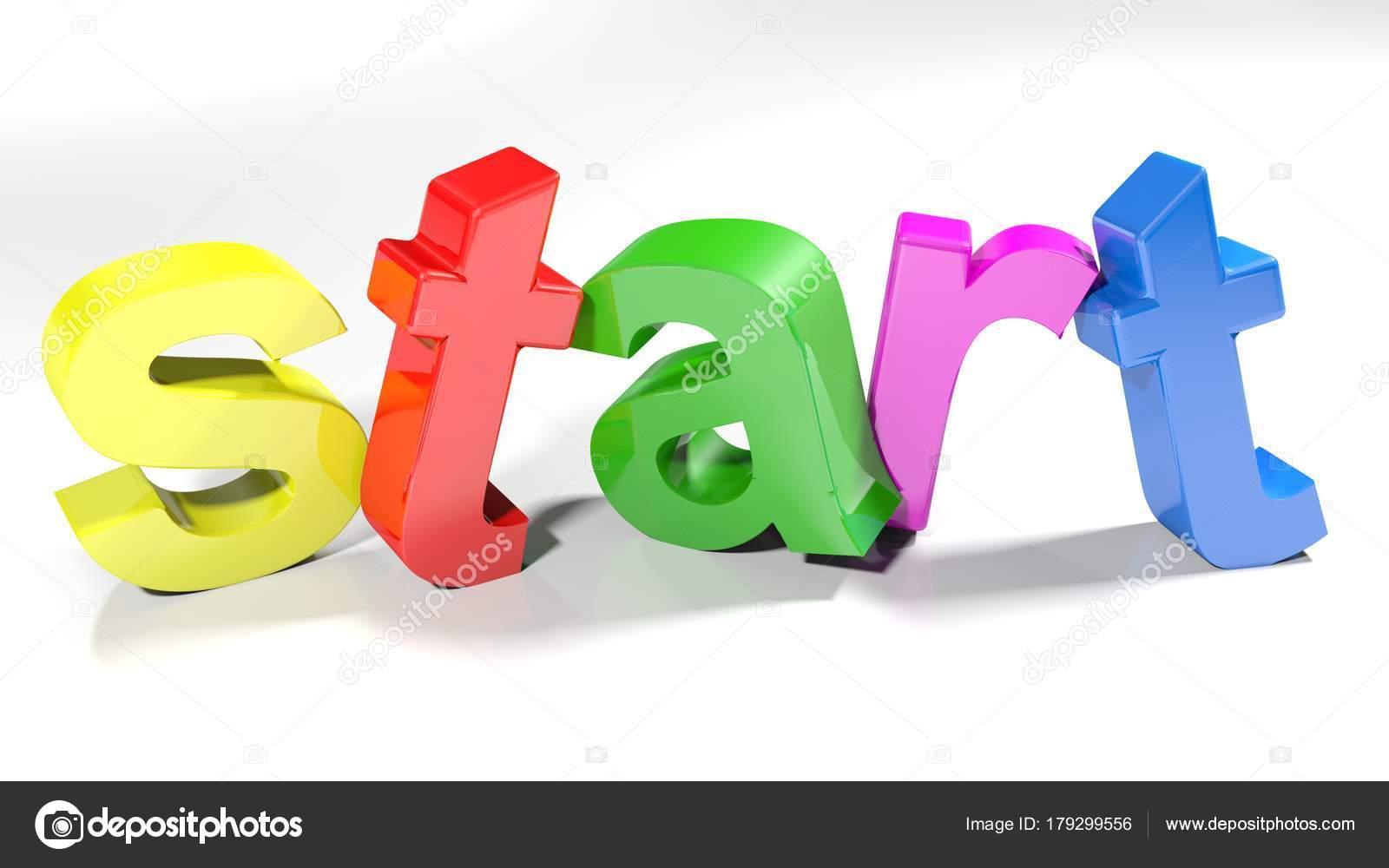 Letters Met Licht : Het woord begin geschreven met kleurrijke letters staan licht