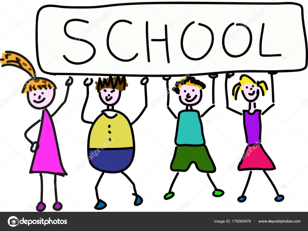 group children holding big banner write school heads — stock vector