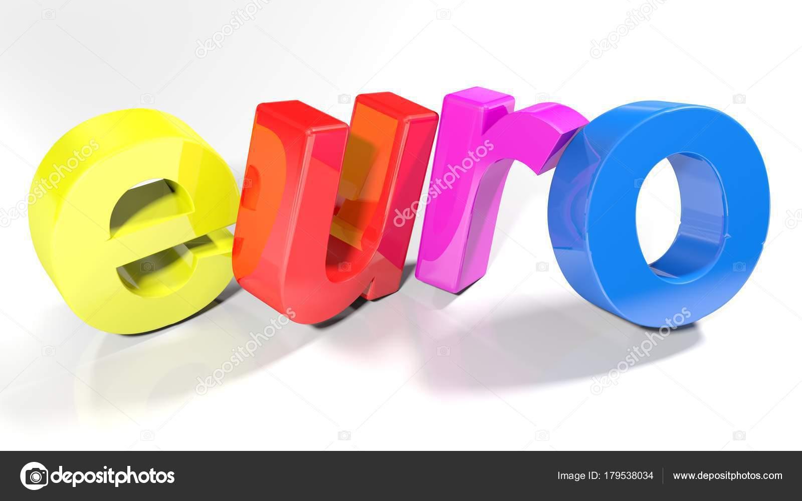 Letters Met Licht : Het woord euro geschreven met kleurrijke letters staan licht