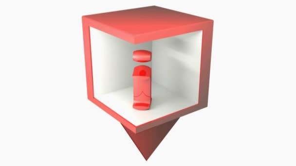 Info point červená značka ikona izolované na bílém pozadí - 3D vykreslování video klip