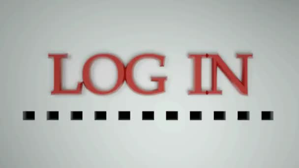 The write LOG IN, on white background, with a red punted progression bar growing up in time - 3D rendering video clip