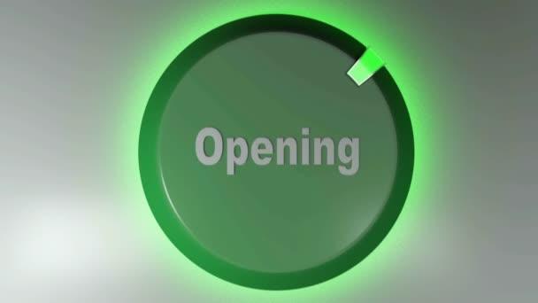 Ikona zeleného kruhu s nápisem OTEVŘENO a otočným světlem kurzoru - 3D vykreslovací video klip