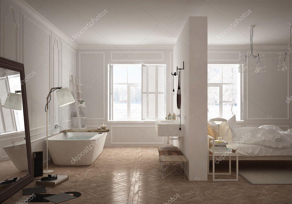 Schlafzimmer & Badezimmer im skandinavischen Stil — Stockfoto ...