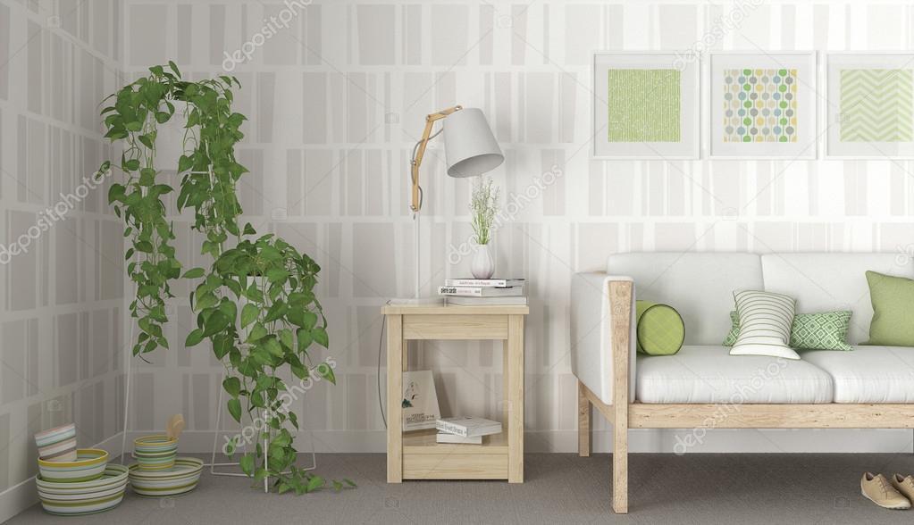 Groen witte scandinavische interieur u stockfoto archiviz