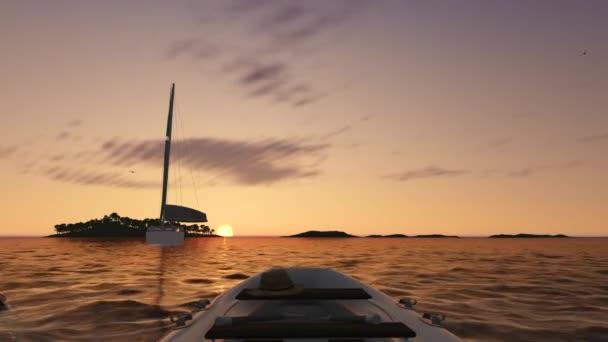 Západ slunce moře scéna s sailship do dálky
