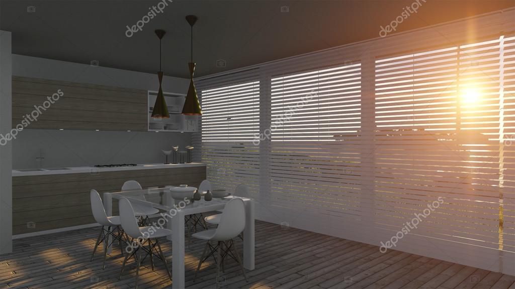 Cucina con ante in vetro e paesaggio del mare — Foto Stock © eloisa ...
