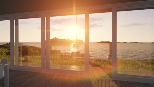 Interieur mit Glas Fensteröffnung auf einen Sonnenuntergang Meer-Landschaft