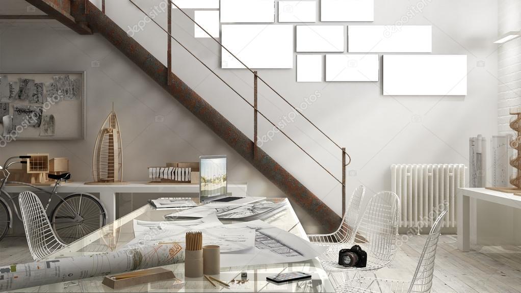 Industrieel interieur, office design — Stockfoto © ArchiVIz #126248120