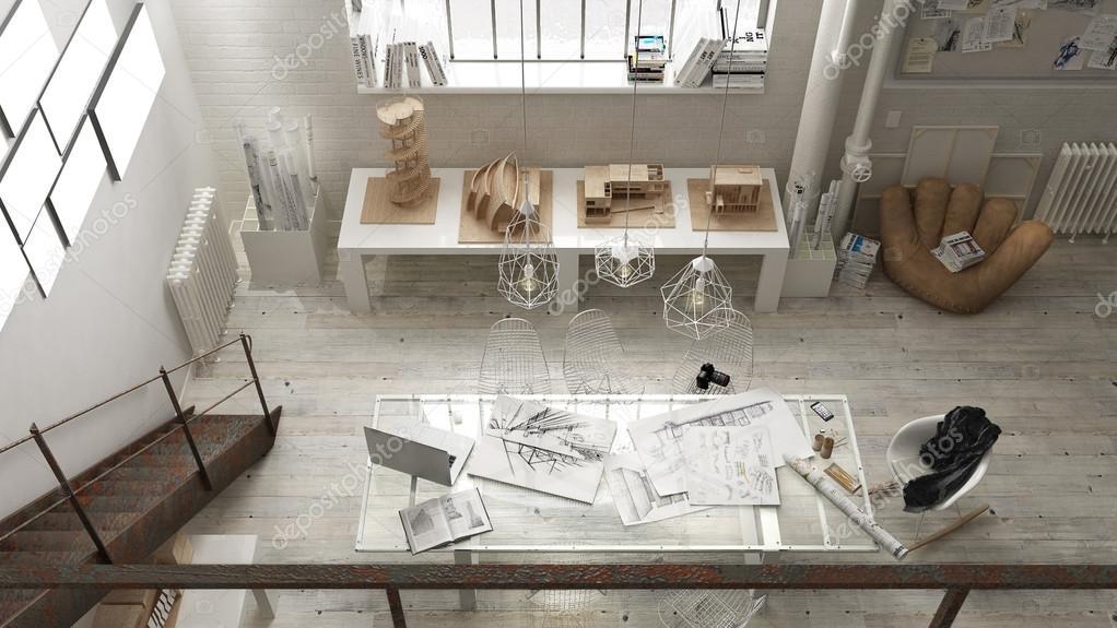 Industrieel interieur, office design — Stockfoto © ArchiVIz #126378888