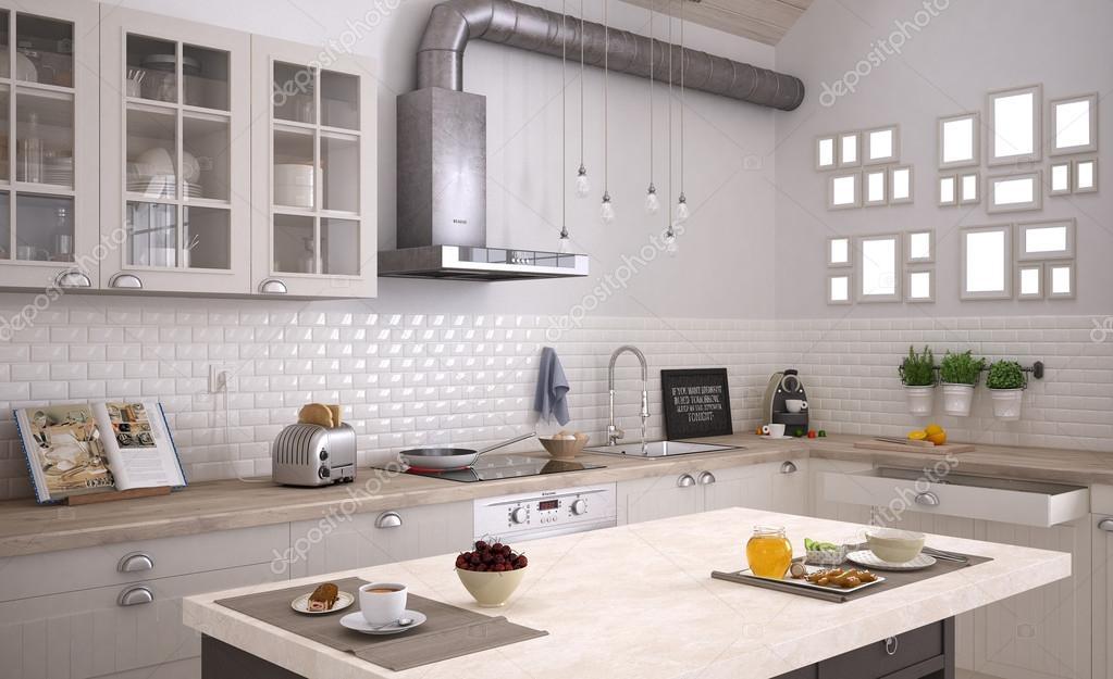 Cucina scandinava interior design foto stock archiviz for Cucine in stock