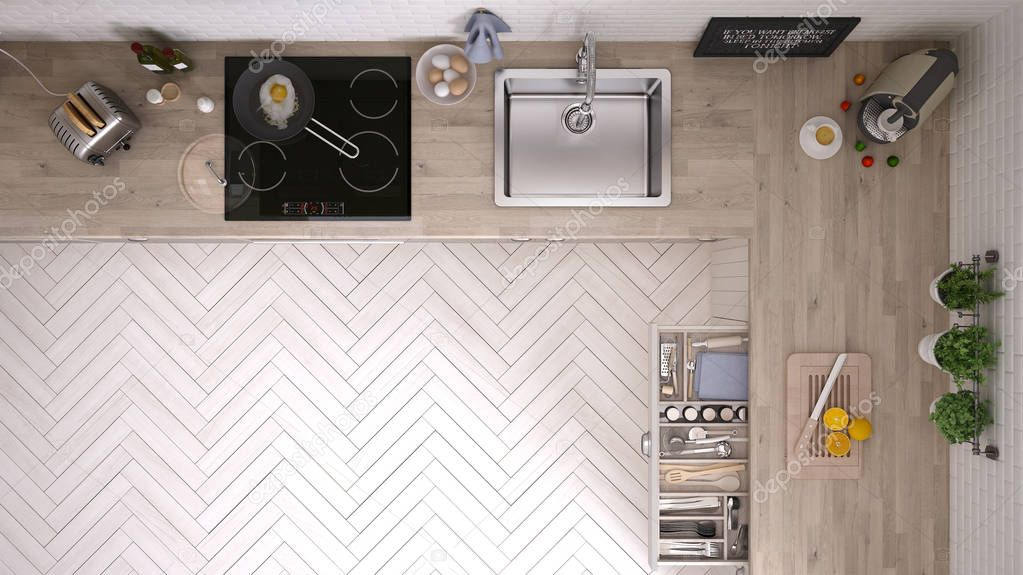 Kitchen Top View : Mutfak Üstten görünüm — stok foto archiviz