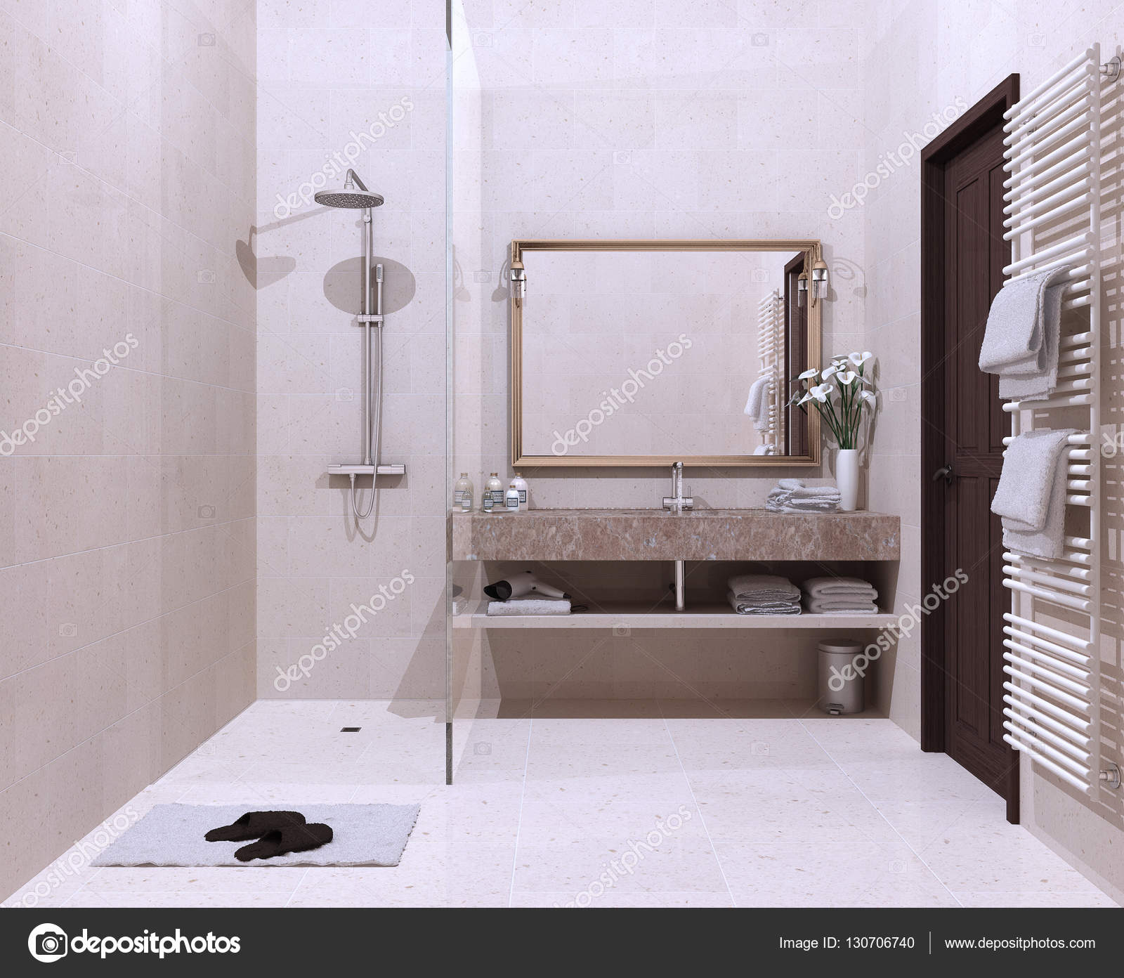 Klassieke badkamer, hotel, resort — Stockfoto © ArchiVIz #130706740