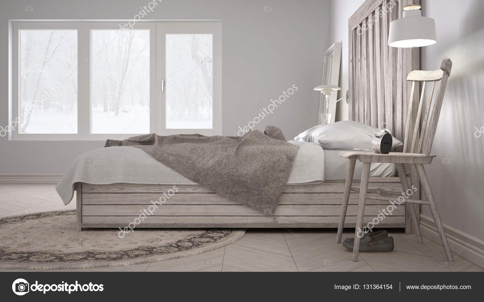 DIY slaapkamer, bed met houten hoofdeinde, Scandinavische wit eco ...