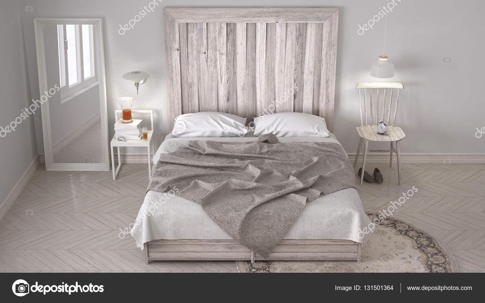 DIY Schlafzimmer, Bett Mit Kopfteil Aus Holz, Skandinavische Weiße Eco  Schickes Design U2014 Foto Von ArchiVIz