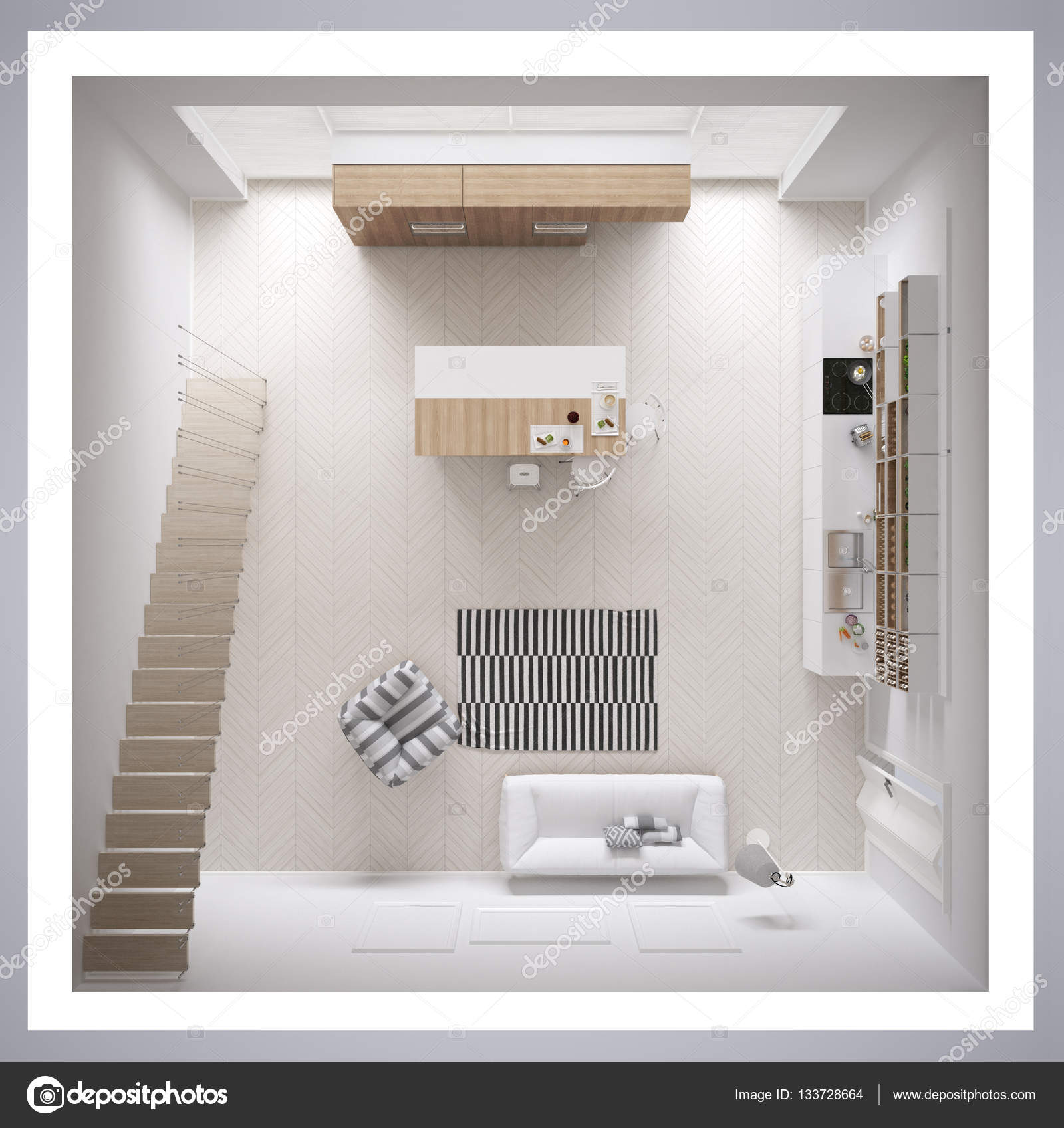 Skandinavische weiße Küche, minimalistischen Innenarchitektur ...