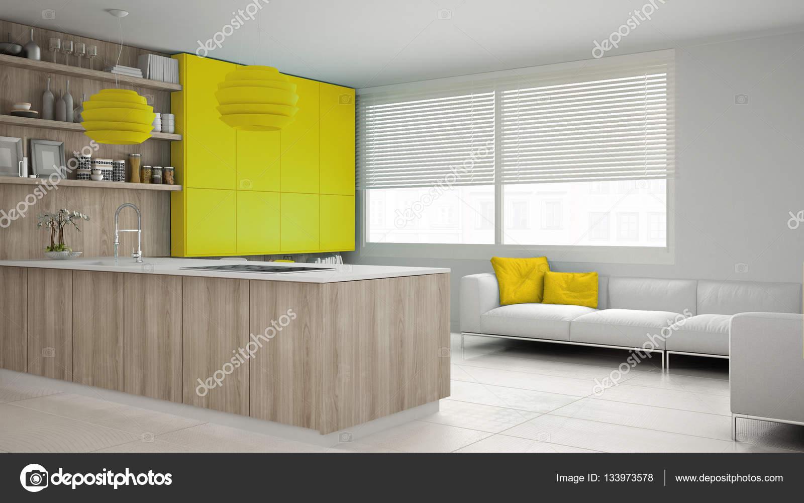 Minimalistische weiße Küche mit Holz- und gelbe Details, Minim ...