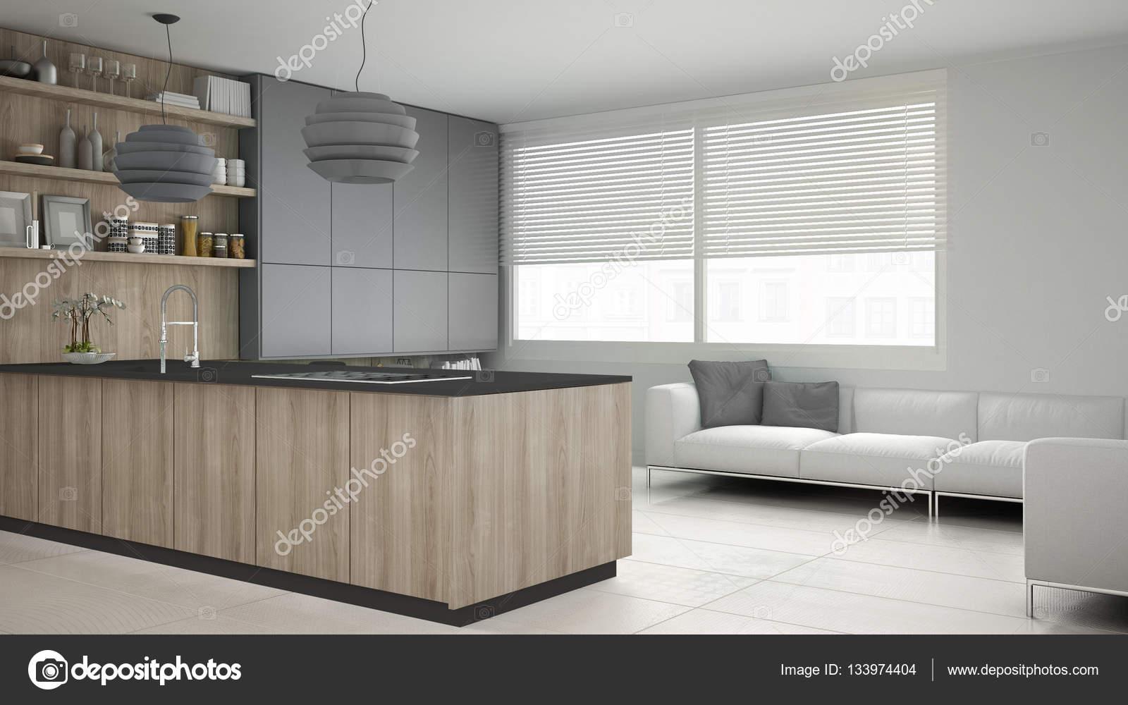 Minimalistisch grijze keuken met houten en grijze details