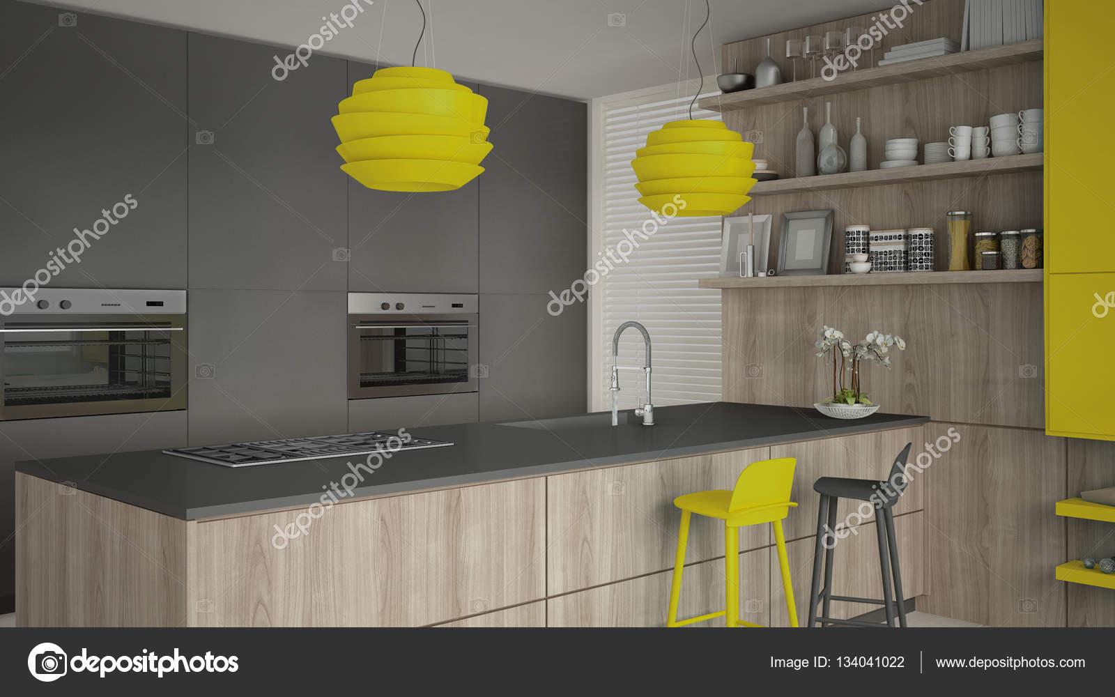 Grey Keuken Houten : Minimalistisch grijze keuken met houten en gele details minima