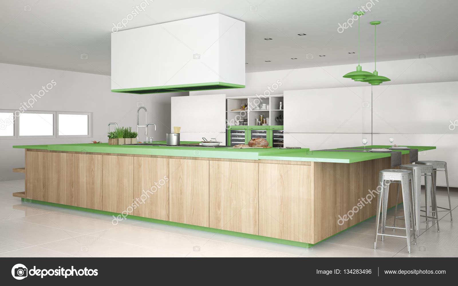Minimalistische weiße Küche mit Holz- und grünen Details, minima ...