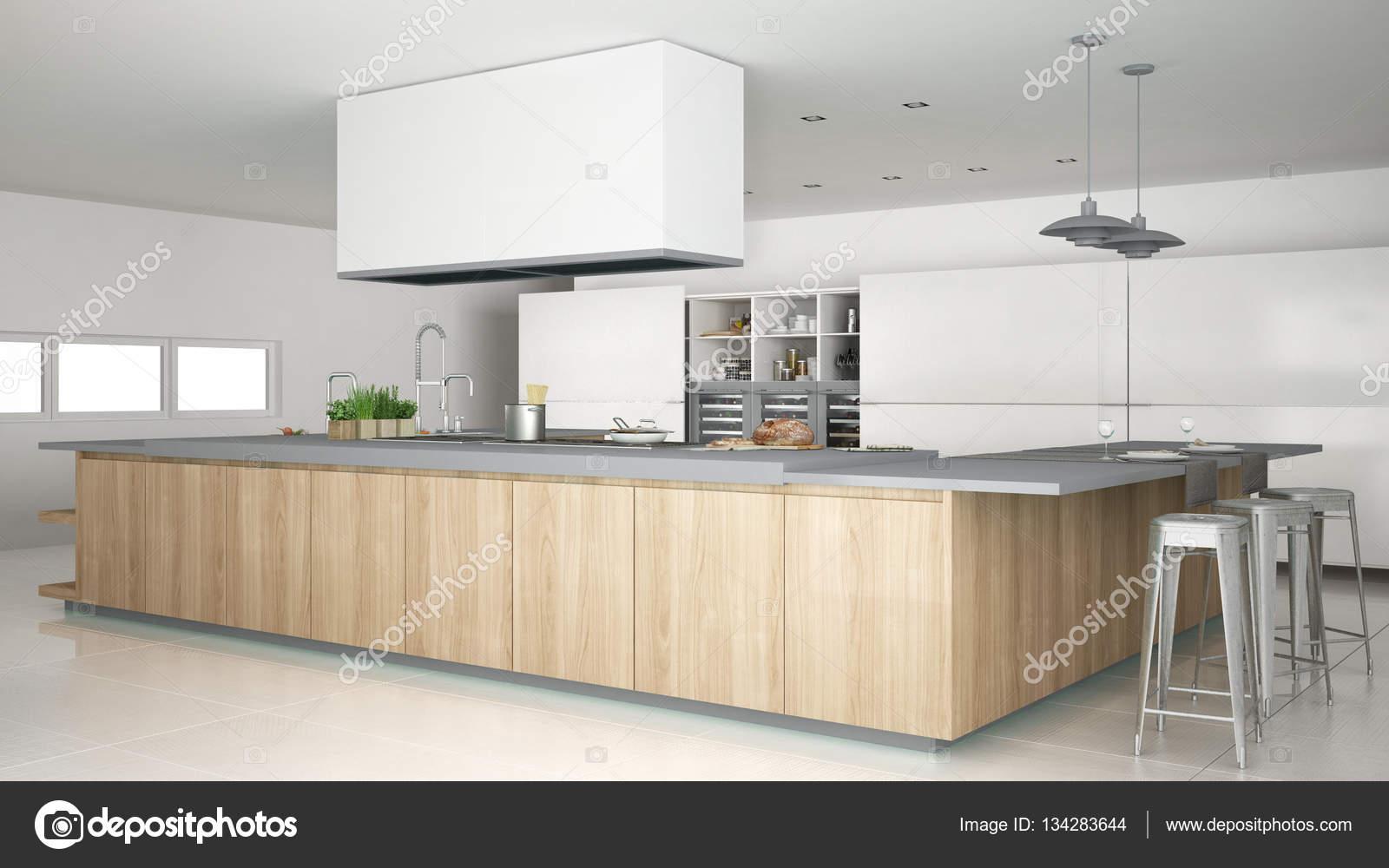 Minimalistische weiße Küche mit Holz- und grauen Details, minimal ...