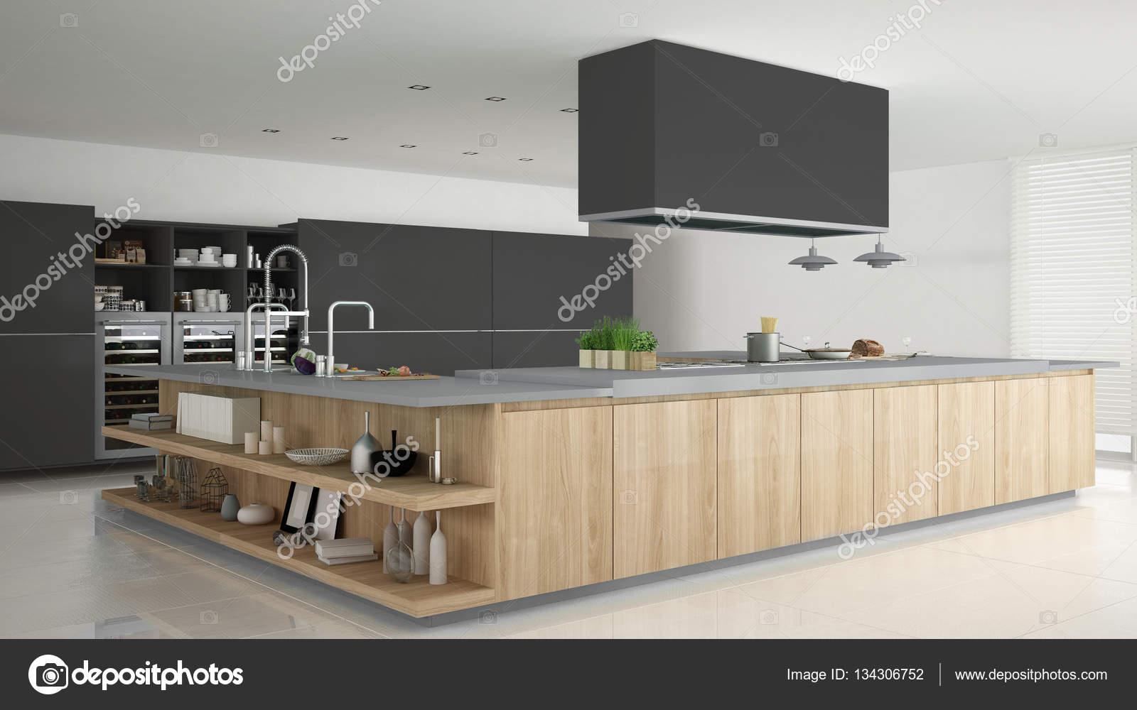 Minimalistyczny Szara Kuchnia Z Drewna I Szarości Szczegóły