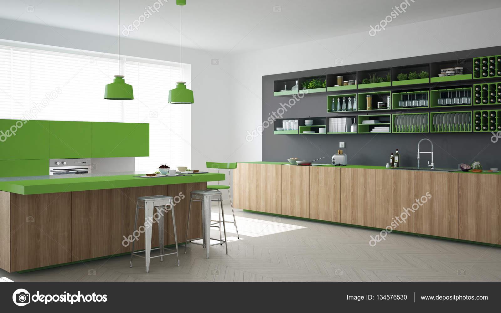 Escandinava Cozinha Cinza Com Detalhes Em Madeira E Verdes M Nimos