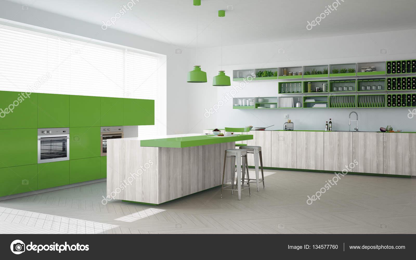 Escandinava Cozinha Branca Com Detalhes Em Madeira E Verdes M Nimos