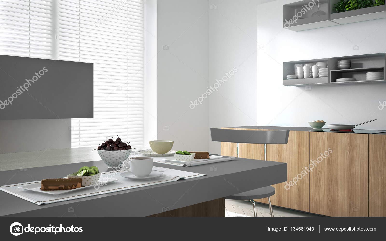Witte Minimalistische Woonkeuken : Minimalistische witte keuken met houten en grijze details
