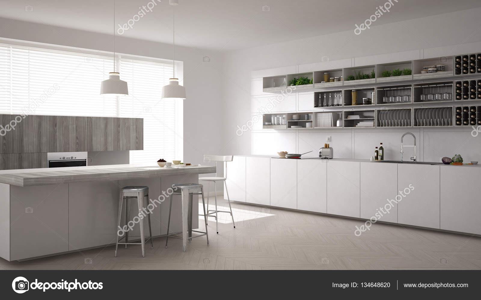 Scandinavische witte keuken minimalistische interieur u2014 stockfoto