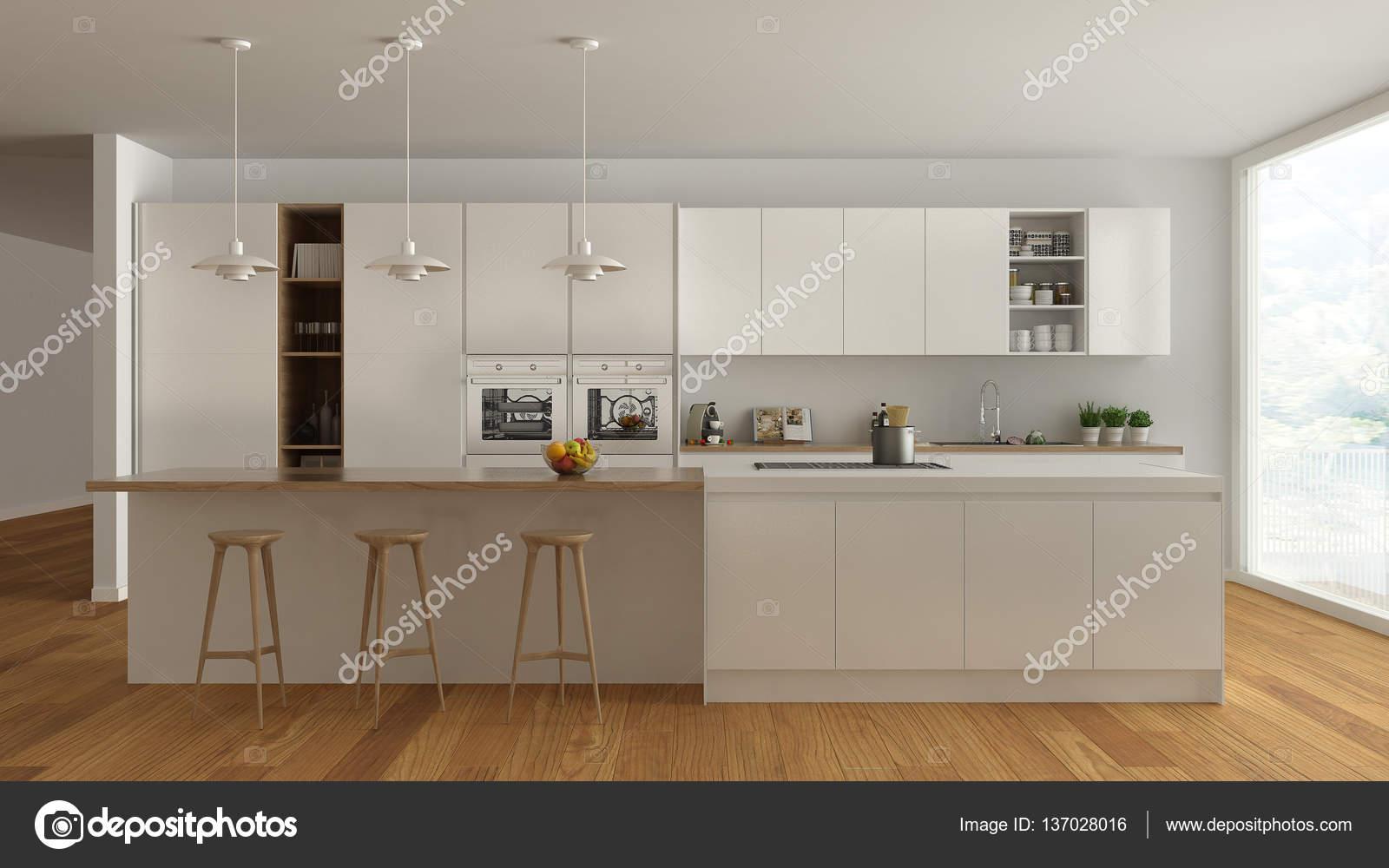 Skandinavische weiße Küche mit Holz- und weißen Details, minima ...