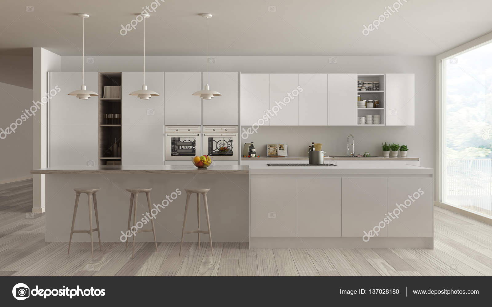 Skandinavische weiße Küche mit Holz- und weißen Details ...