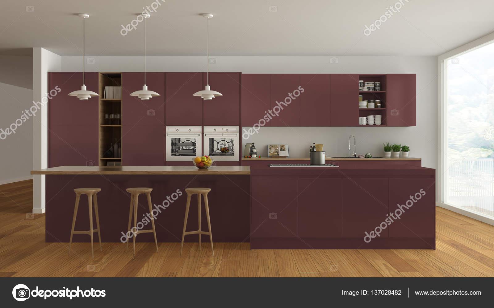 Cucina scandinava bianca con dettagli in legno e rosso, minimali ...