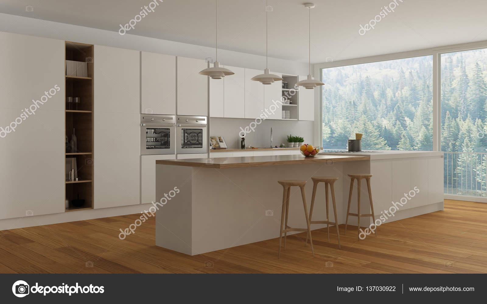 Skandinavische Weisse Kuche Mit Holz Und Weissen Details Minima