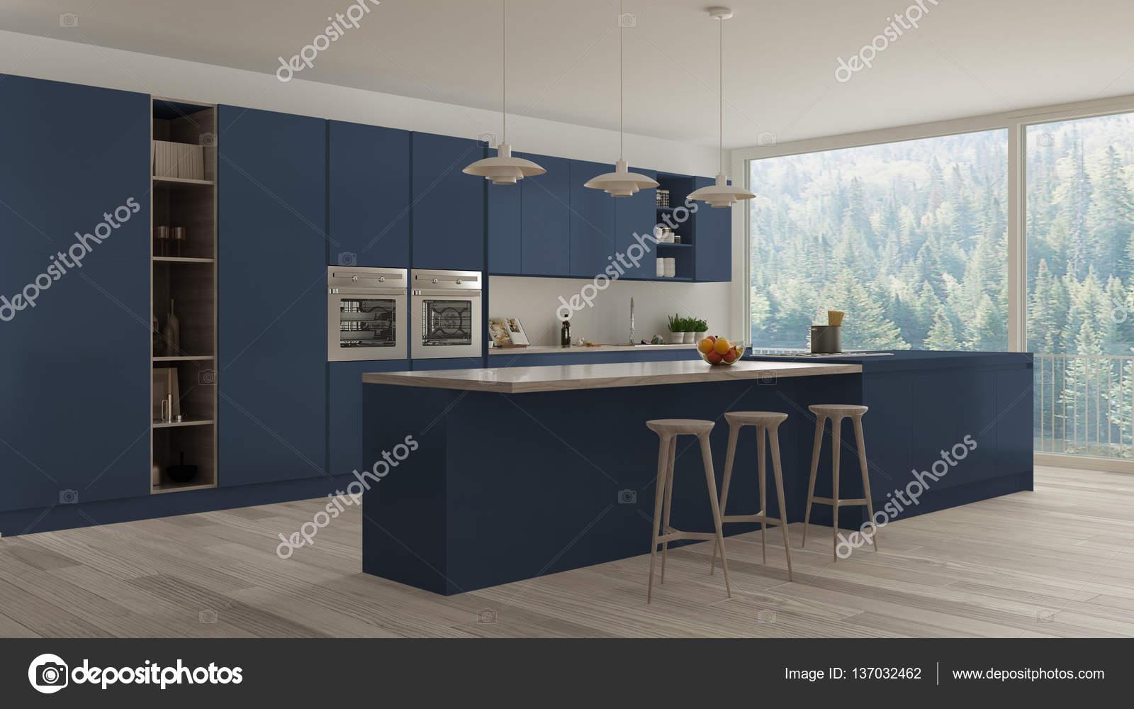 Skandinavische weiße Küche mit Holz- und blauen Details, minimal ...
