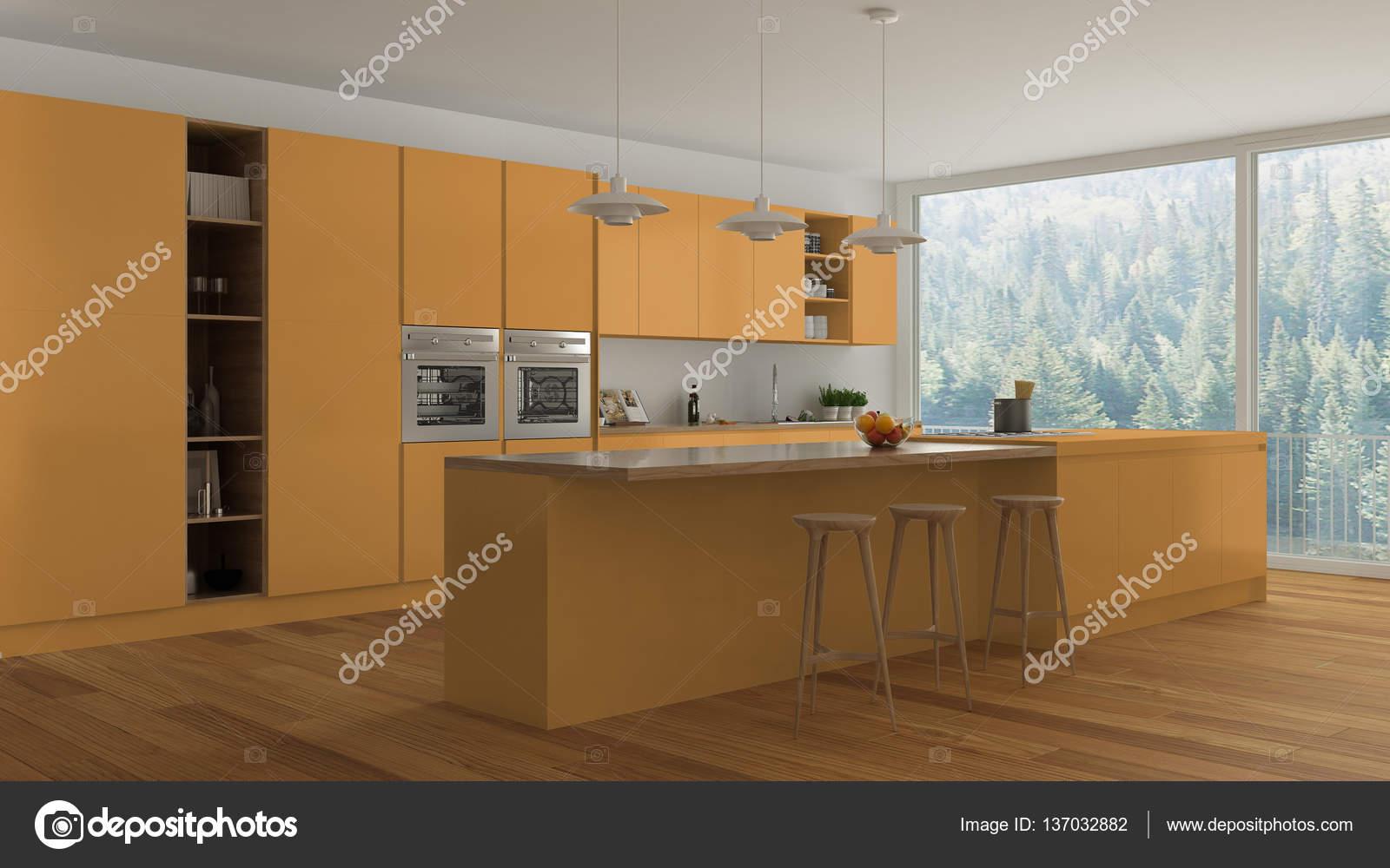 Weiße Küche Mit Holz skandinavische weiße küche mit holz und orange details minim